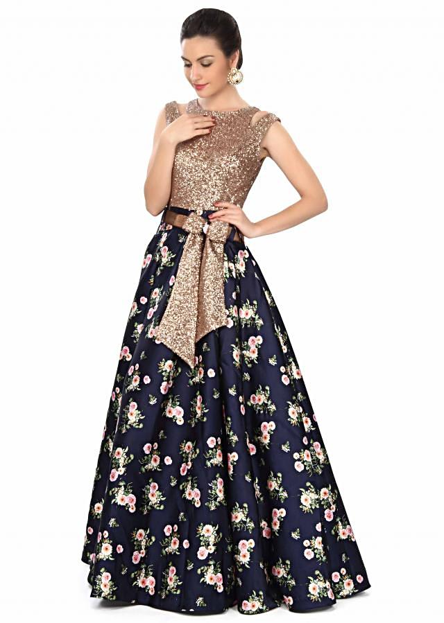 Navy blue gown features in sequin and floral print only on Kalki