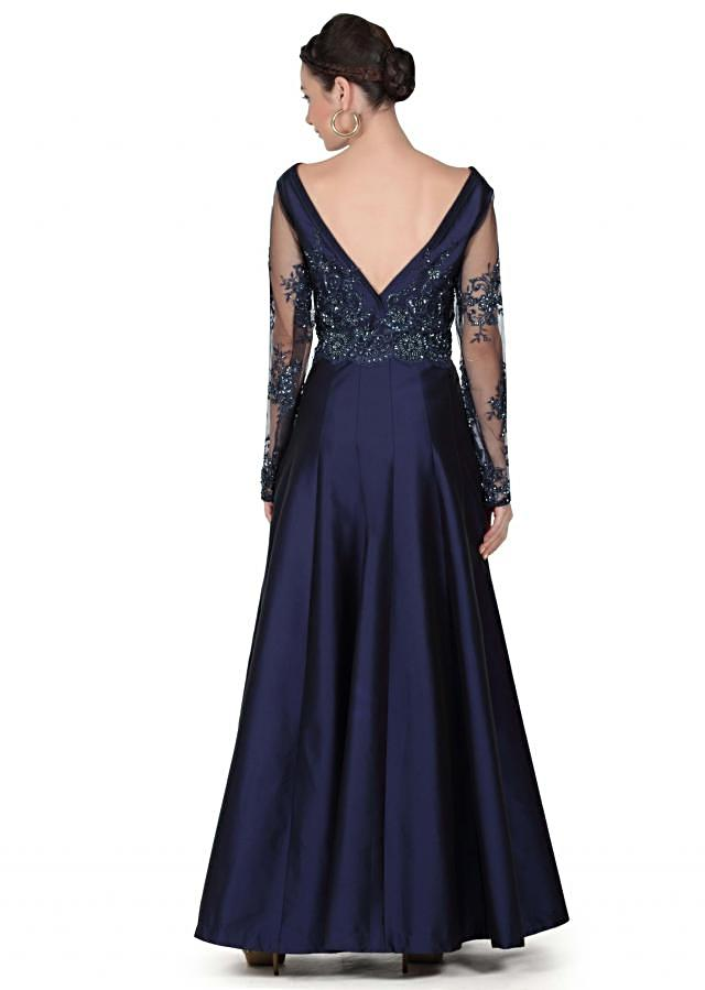 Navy blue gown with embroidered bodice only on Kalki