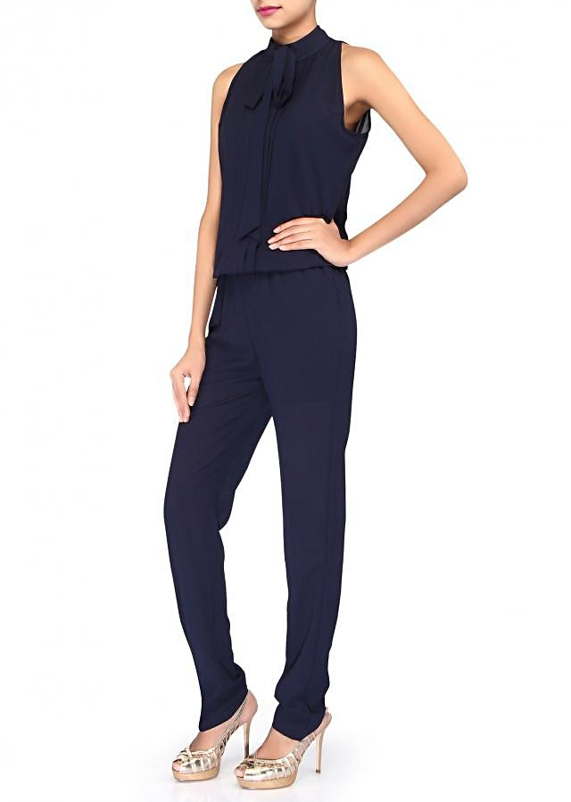 Navy blue jumpsuit enhanced in chinese collar only on Kalki