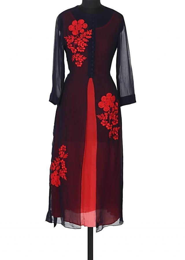 Navy blue kurti adorn in coral resham embroidery only on Kalki