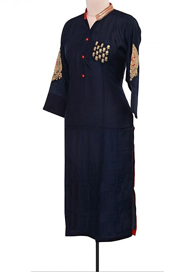 Navy blue kurti adorn in sleeve embroidery only on Kalki