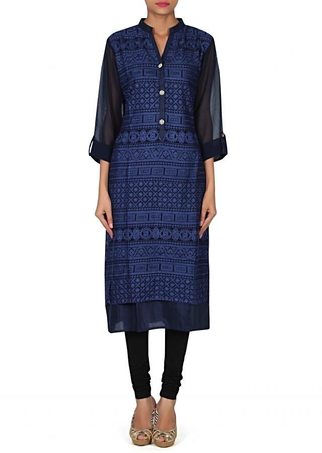 Navy blue kurti adorn in thread embroidery only on Kalki
