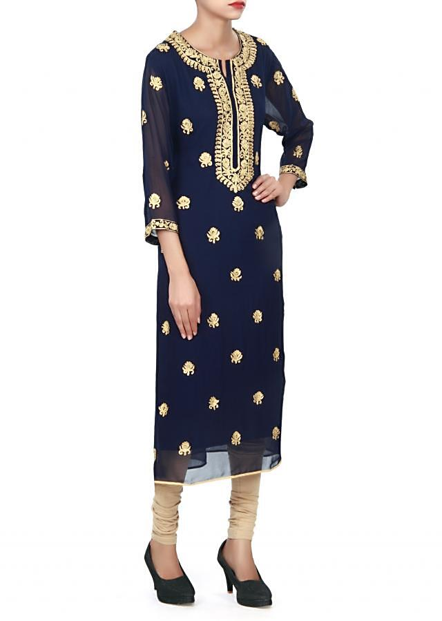 Navy blue kurti embellished in aari embroidered butti only on Kalki