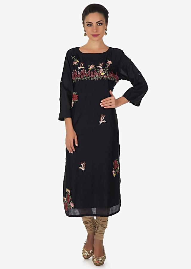 Navy blue kurti embellished in bird and floral embroidery in resham only on Kalki