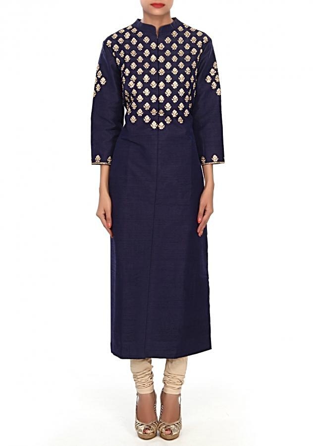 Navy blue kurti embellished in zari and kundan embroidered butti only on Kalki