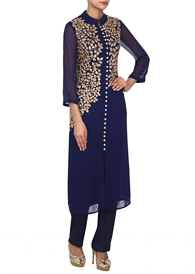 Navy blue kurti embellished in zari embroidered bodice only on Kalki