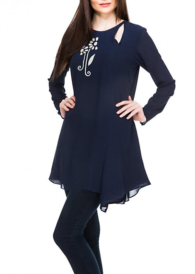 Navy blue kurti enahcned in thread embroidery only on Kalki