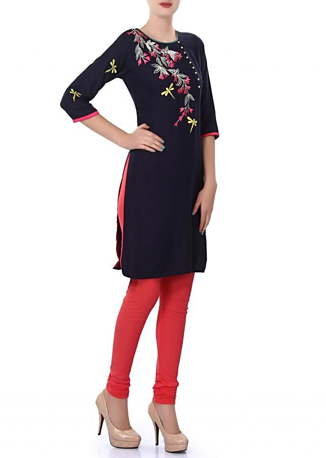 Navy blue kurti enhanced in resham and applique work only on Kalki