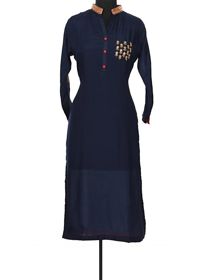 Navy blue kurti features with embroidered pocket only on Kalki