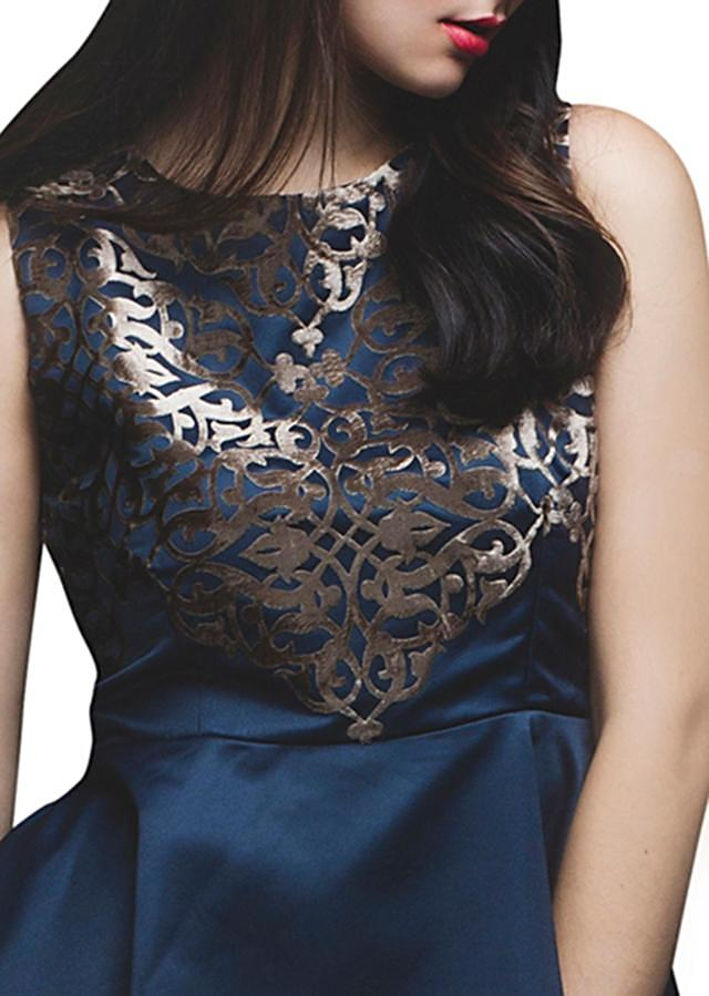 Navy blue kurti featuring in applique embroidery