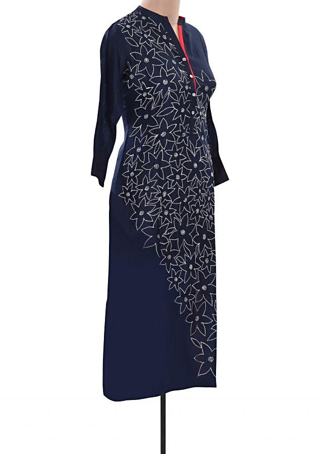 Navy blue kurti featuring with floral motif embroidery only on Kalki