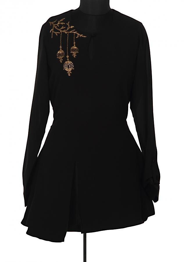 Black kurti feautring in sequin embroidery only on Kalki