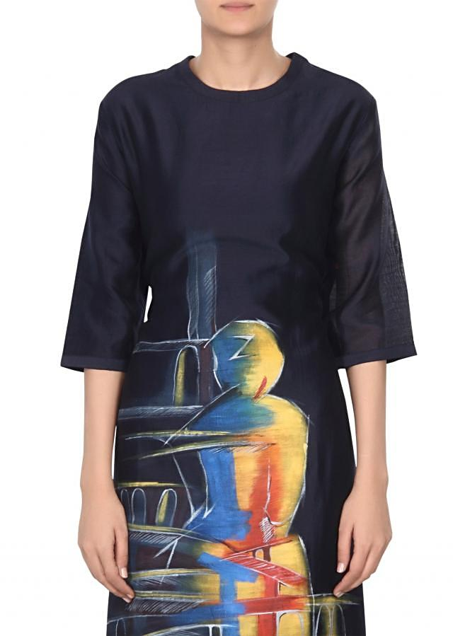 Navy blue kurti in abstract print only on Kalki