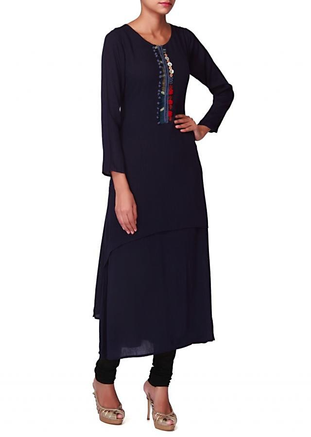 Navy blue kurti with fancy button and pom pom lace only on Kalki