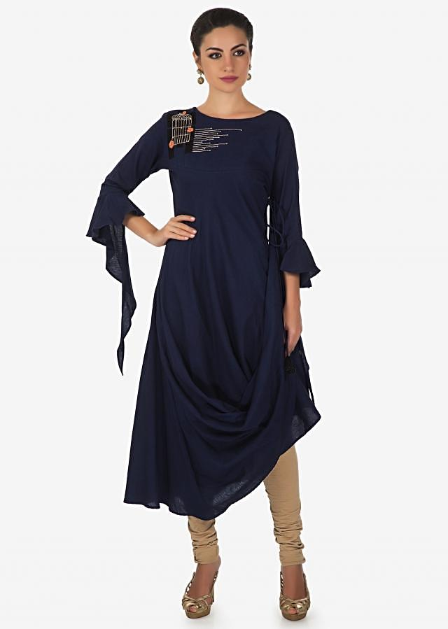Navy blue kurti with fancy drape and  cage motif embroidery only on Kalki