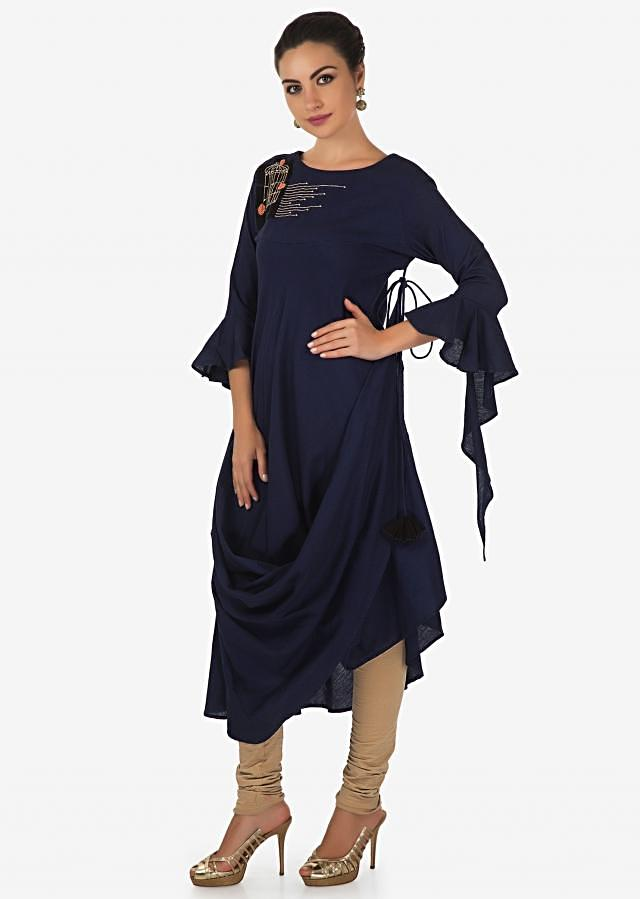 Navy Blue Kurti With Fancy Drape And Cage Motif Embroidery Online - Kalki Fashion
