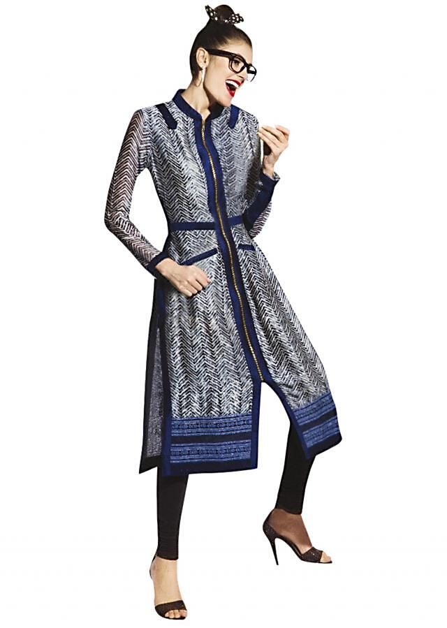 Navy blue kurti with resham embroidery