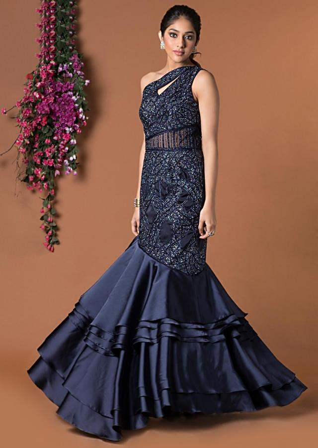 Navy Blue Gown In Layered Fish Cut Style With Self Embroidery Online - Kalki Fashion
