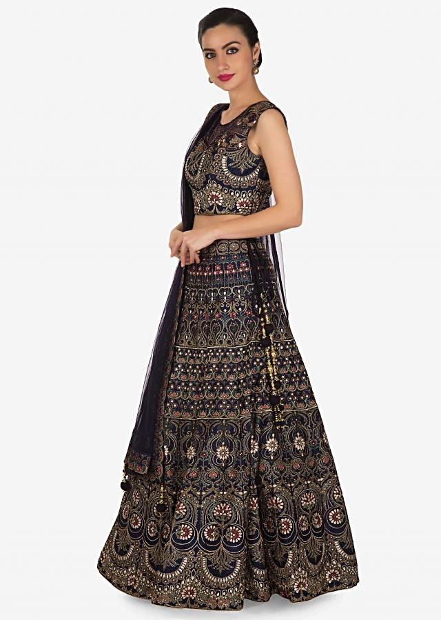 Navy blue lehenga adorn in digital print and sequin work in floral motif only on Kalki
