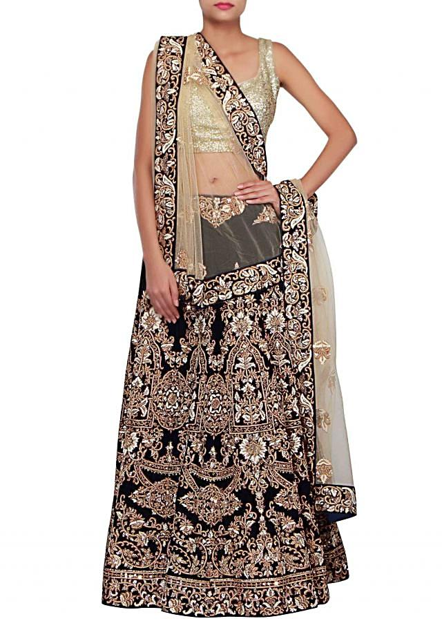 Navy blue lehenga adorn in zardosi and french knot embroidery only on Kalki