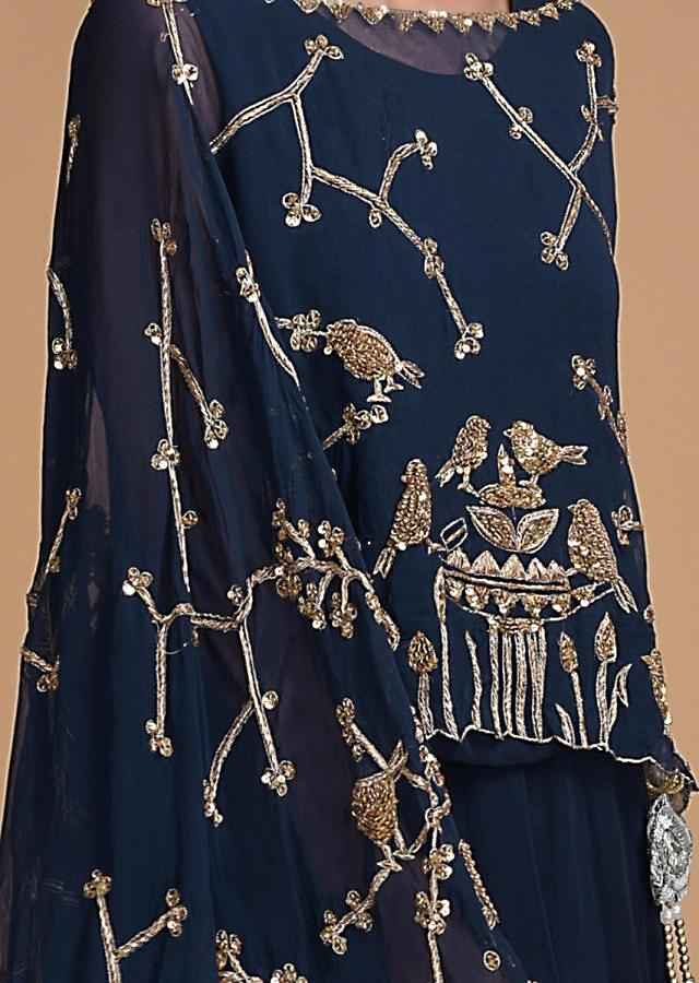 Navy Blue Lehenga In Georgette With Embroidered Cape In Bird Motif Online - Kalki Fashion
