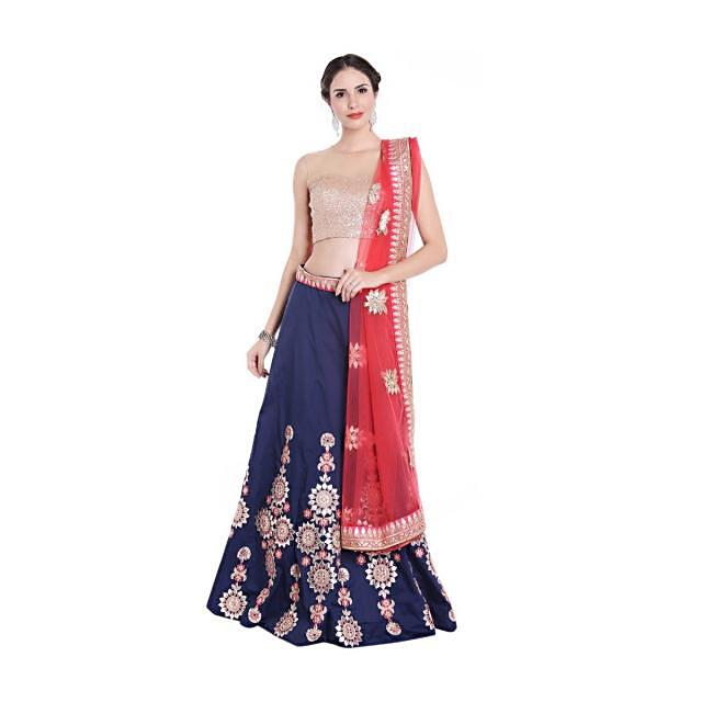 Navy blue lehenga in gotta patch and resham embroidered kali only on Kalki