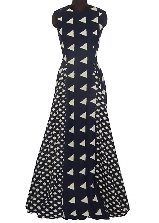 Navy blue long dress with fancy print only on Kalki