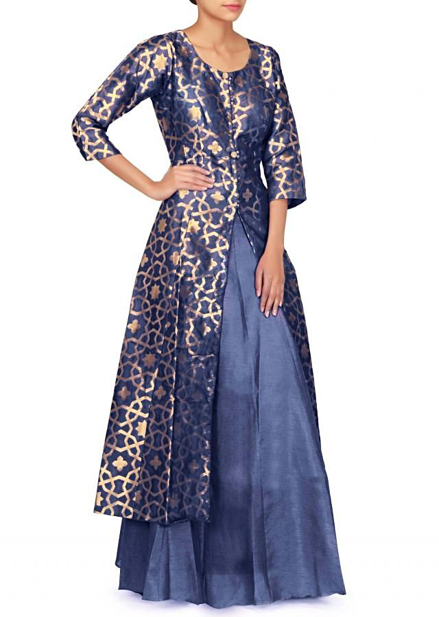 Navy blue long top with raw silk lehenga only on Kalki