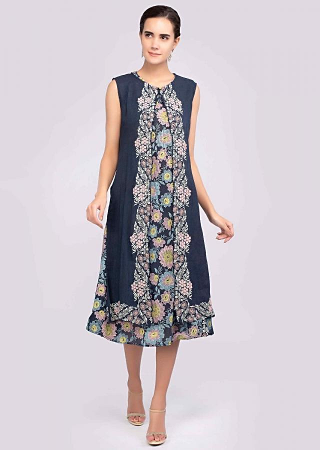 Navy Blue Kurti With Multi Color Foil Print And Matching Long Jacket Online - Kalki Fashion