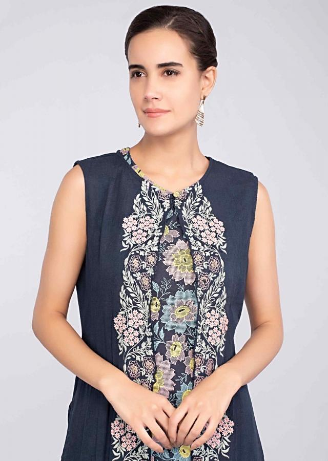 Navy blue multi color foil printed kurti with matching long jacket only on Kalki