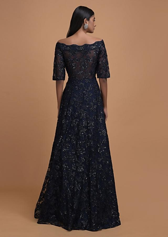 Navy Blue Off Shoulder Gown Adorn In Embossed Thread And Sequin Embroidery Online - Kalki Fashion