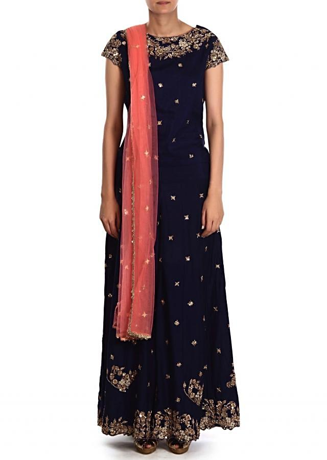Navy blue palazzo suit adorn in zardosi embroidery only on Kalki