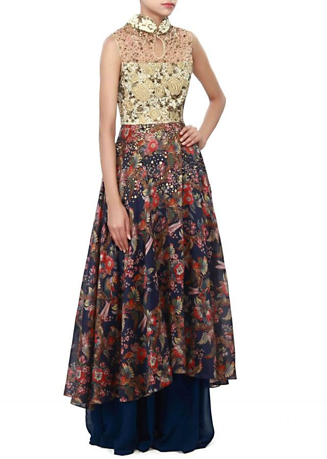 Navy blue palazzo suit enhanced in print and sequin embroidery only on Kalki