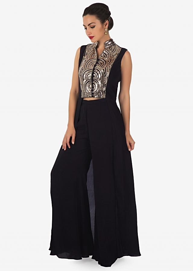 Navy blue palazzo suit in fancy embroidered placket only on Kalki
