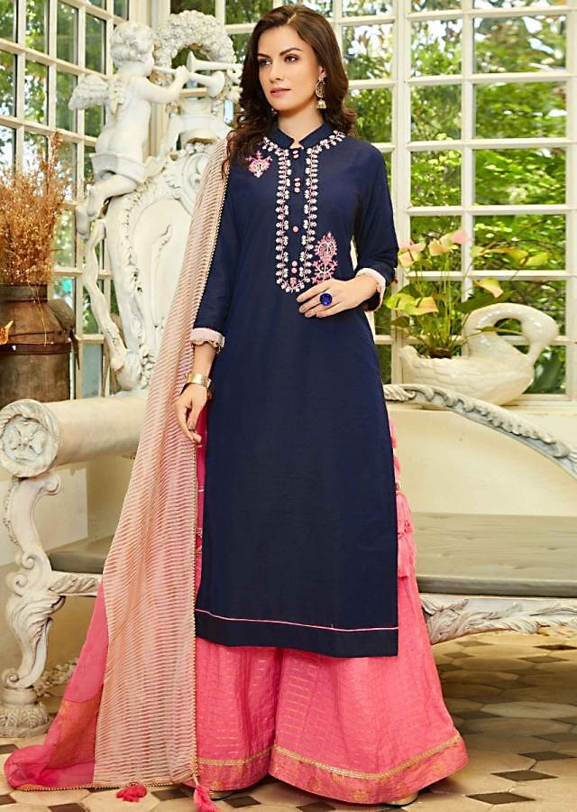 Navy blue palazzo suit in resham and moti embroidery