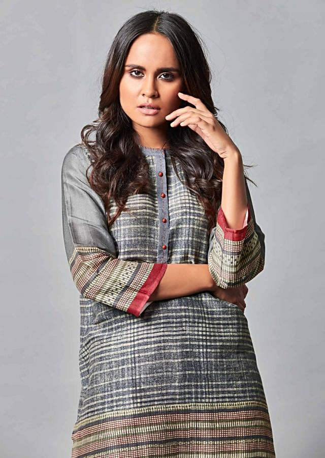 Navy Blue Suit In Printed Cotton With Beige Straight Cut Pants Online - Kalki Fashion