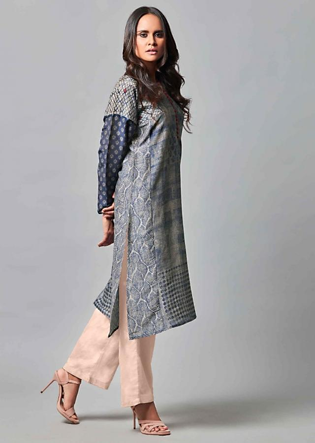 Navy Blue Suit In Printed Cotton With Powder Peach Straight Cut Pants Online - Kalki Fashion