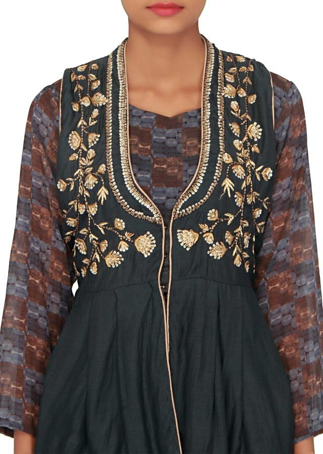 Navy blue printed dress with embroidered jacket only on Kalki