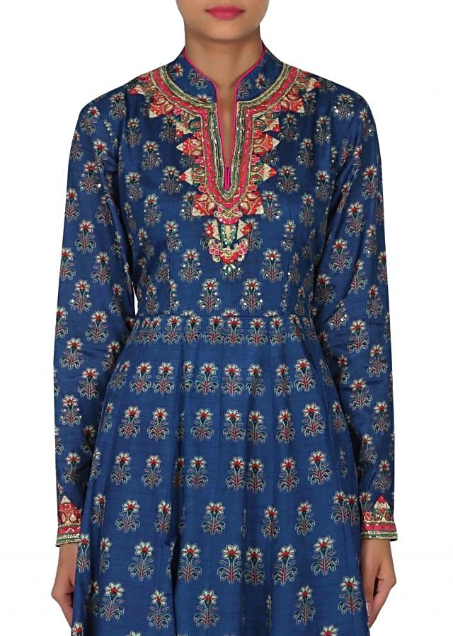 Navy blue printed dress with embroidered placket only on Kalki