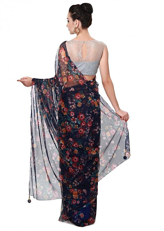 Navy blue printed saree matched with grey blouse only on Kalki