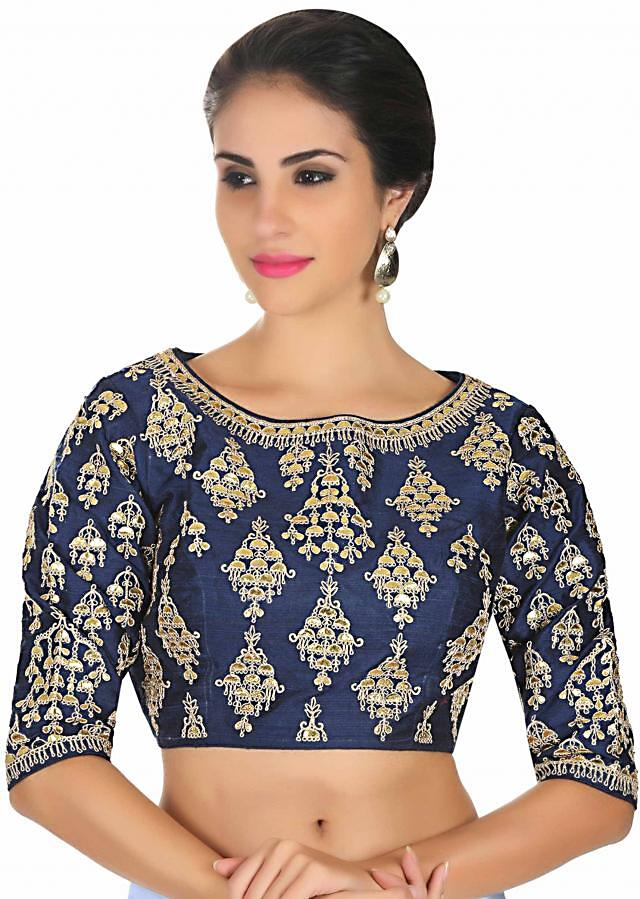 Navy blue raw silk blouse in gotta patch and zari butti only on Kalki