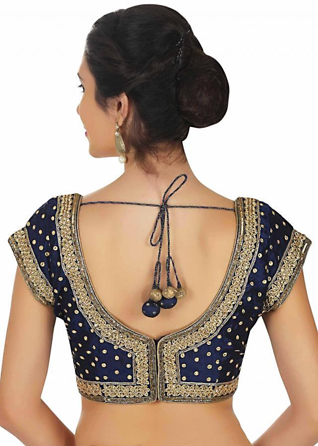 Navy blue raw silk blouse in thread and kundan work only on Kalki