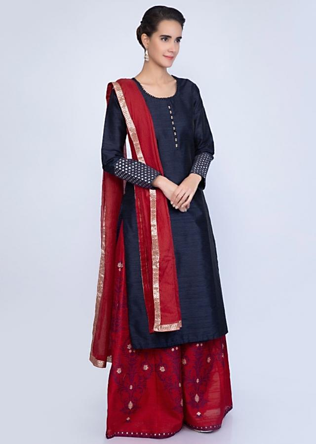 Navy Blue Kurti In Raw Silk With Contrasting Red Palazzo In Weaved Embroidery Online - Kalki Fashion