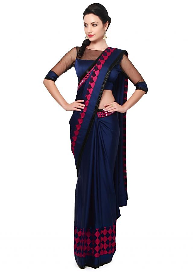 Pink saree adorn in geometric motif embroidery only on Kalki