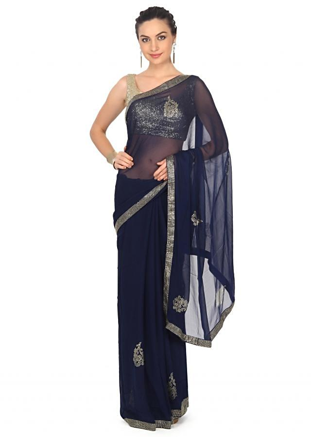 Navy blue saree adorn in kundan embroidery only on Kalki