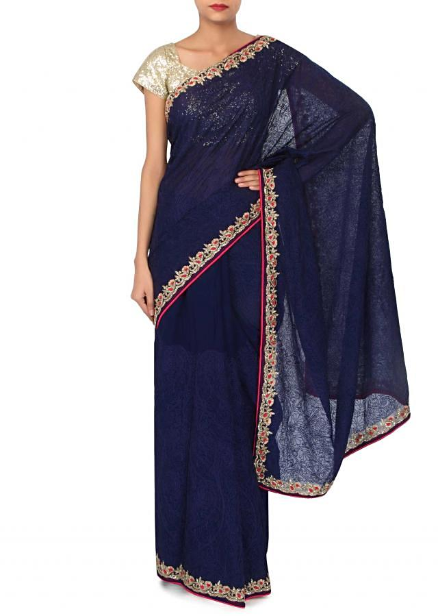 Navy blue saree adorn in thread and paisley border only on Kalki