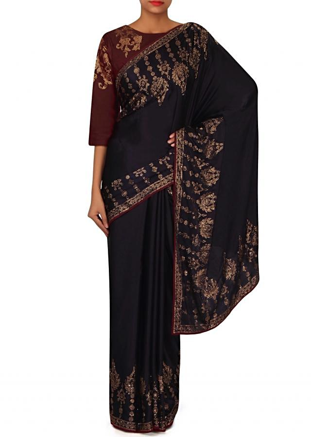 Navy blue saree embellished in kundan with ready blouse only on Kalki