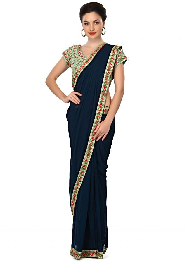 Navy blue saree featuring in embroidered ready blouse only on Kalki