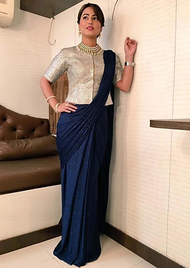Hina Khan in kalki navy blue saree gown with embellished blouse