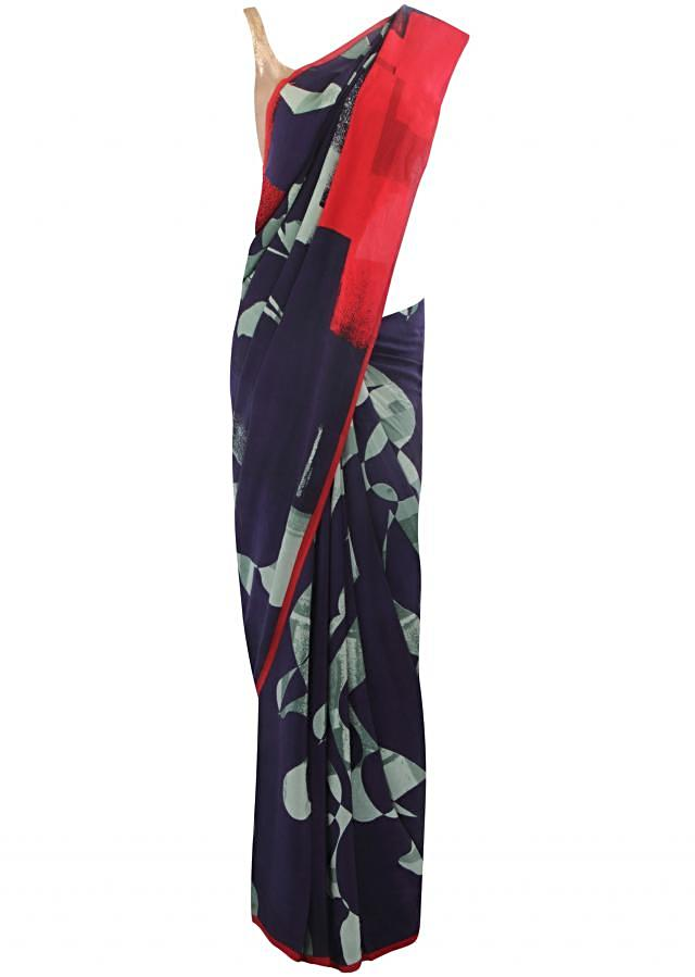 Navy blue saree in abstract print only on Kalki